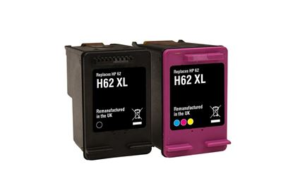 Picture of Jet Tec Recycled HP 62XL Black & Colour Ink Cartridge Combo Pack