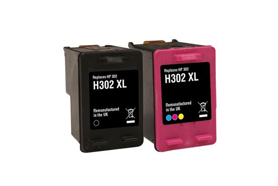 Picture of Jet Tec Recycled HP 302XL Black & Colour Ink Cartridge Combo Pack