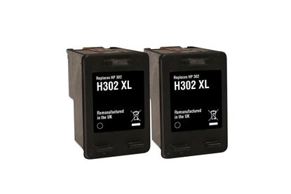 Picture of Jet Tec Recycled HP 302XL Black Ink Cartridge Twin Pack