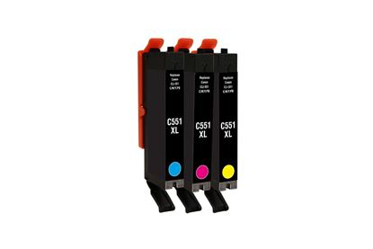 Picture of Jet Tec Recycled Canon CLI-551XL Cyan, Magenta, Yellow Ink Cartridge Multipack