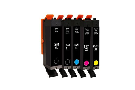 Picture of Jet Tec Recycled Canon PGI-550XL Black & CLI-551XL Black, Cyan, Magenta, Yellow Ink Cartridge Multipack