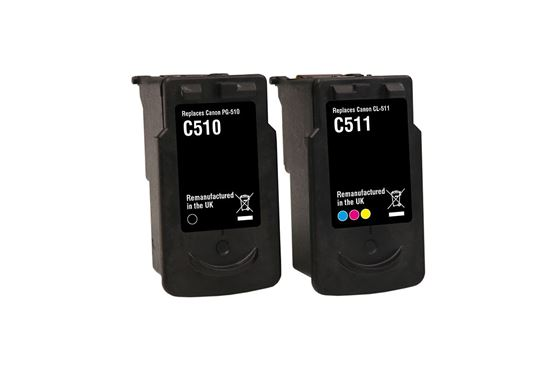 Picture of Jet Tec Recycled Canon PG-510 Black & CL-511 Colour Ink Cartridge Combo Pack
