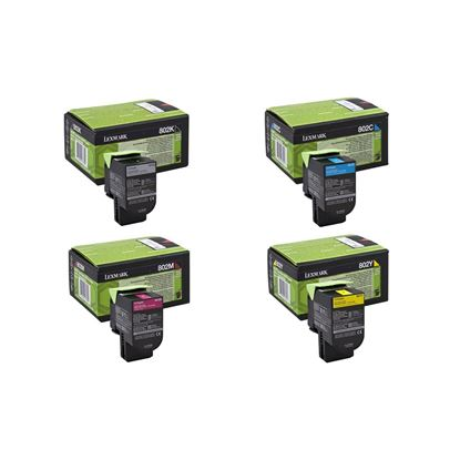 Picture of Lexmark 80C20 Black, Cyan, Magenta, Yellow Toner Cartridge Multipack (802 Laser Toner)