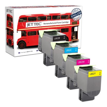 Picture of Jet Tec Recycled Lexmark 80C20 Black, Cyan, Magenta, Yellow (802) Toner Cartridge Multipack