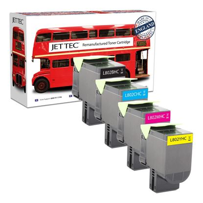 Picture of Jet Tec Recycled Lexmark 80C20H High Yield Black, Cyan, Magenta, Yellow (802H) Toner Cartridge Multipack