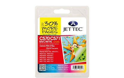 Picture of Jet Tec Recycled Canon PGI-570XL Black & CLI-571XL Black, Cyan, Magenta, Yellow Ink Cartridge Multipack