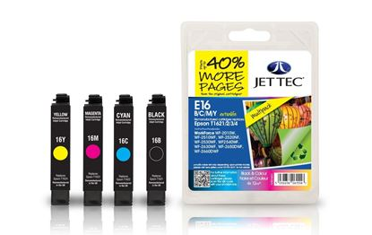 Picture of Jet Tec Recycled Epson T1626 Black, Cyan, Magenta, Yellow Ink Cartridge Multipack