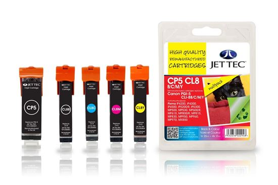 Picture of Jet Tec Recycled Canon PGI-5/CLI-8 Black, Cyan, Magenta, Yellow Ink Cartridge Multipack