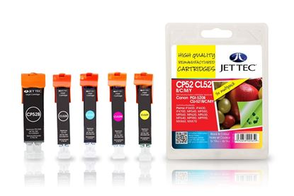 Picture of Jet Tec Recycled Canon PGI-520/CLI-521 Black, Cyan, Magenta, Yellow Ink Cartridge Multipack