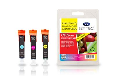 Picture of Jet Tec Recycled Canon CLI-521 Cyan, Magenta, Yellow Ink Cartridge Multipack